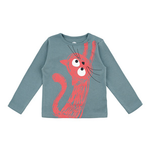 Langarmshirt Katze in gravity blau GOTS - La Queue Du Chat