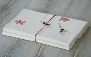 """Babydecke """"Lebkuchen rosa"""", handbedruckt - luscinia"""