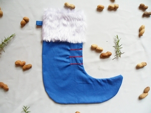 Nikolausstiefel blau aus Reststoffen, Upcycling von Leesha - Leesha