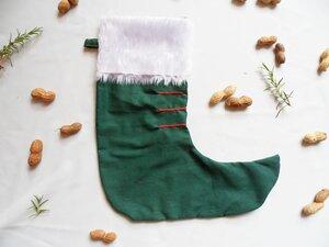 Nikolausstiefel grün aus Reststoffen, Upcycling von Leesha - Leesha
