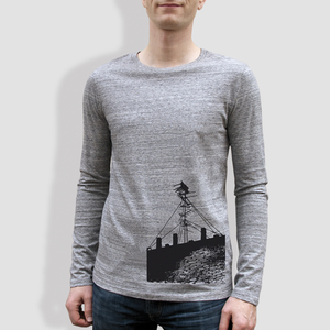 "Herren Longsleeve, ""Antenne"", Heather Grey - little kiwi"