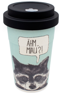 Coffee-to-go Bambus-Becher, Mehrweg Kaffeebecher (Raccoon black) - heyholi