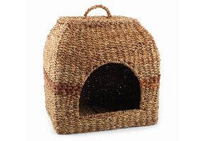 Katzenkorb aus Hogla-Gras eckig, Fairtrade - El Puente
