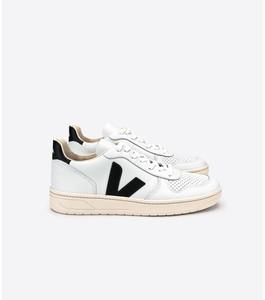 Sneaker Damen - V-10 LEATHER - EXTRA WHITE BLACK - Veja
