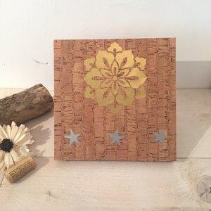 Kork Holzbild Mandala Gold Blume  - Living in Kork