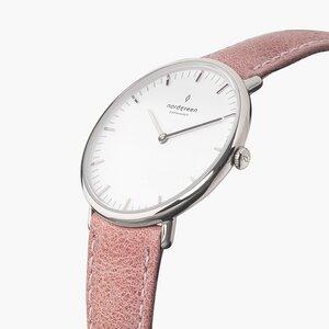 Armbanduhr NativeSilber - Lederarmband Rosa - Nordgreen Copenhagen