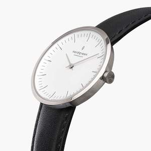 Armbanduhr Infinity Silber - Lederarmband Schwarz - Nordgreen Copenhagen