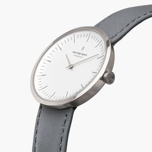 Armbanduhr InfinitySilber - Lederarmband Grau - Nordgreen Copenhagen