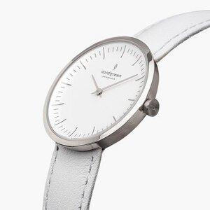Armbanduhr InfinitySilber - Lederarmband Weiß - Nordgreen Copenhagen