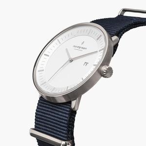 Armbanduhr Philosopher Silber - Nylonarmband Navy Blau - Nordgreen Copenhagen