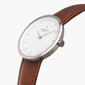 Armbanduhr Infinity Silber - Lederarmband Braun - Nordgreen Copenhagen