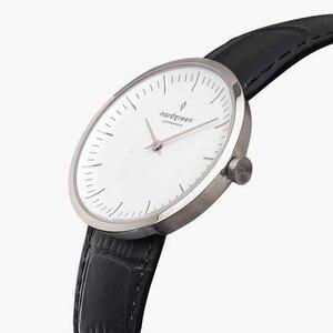 Armbanduhr Infinity Silber - Lederarmband Schwarz Croco - Nordgreen Copenhagen