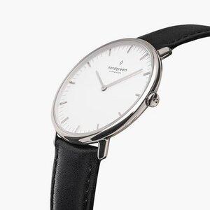 Armbanduhr NativeSilber - Lederarmband Schwarz - Nordgreen Copenhagen