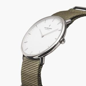 Armbanduhr Native Silber - Nylonarmband Beige Grün - Nordgreen Copenhagen