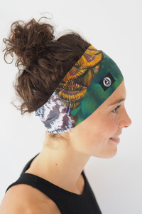 Recycelt Yoga Stirnband / Workout Headband / PFAU - Arctic Flamingo