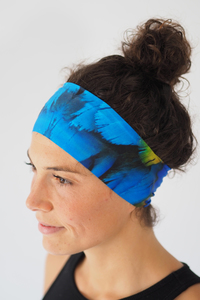 Recycelt Yoga Stirnband / Workout Headband / BLUE BIRD - Arctic Flamingo
