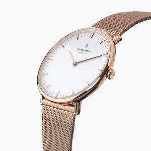 Armbanduhr NativeRoségold | Weißes Ziffernblatt - Mesharmband - Nordgreen Copenhagen
