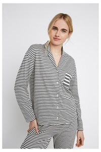 Pyjama Hemd - Stripe Shirt - Grau - People Tree