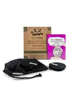 Waschbare Abschminkpads Schwarz Baumwolle inkl. Wäschenetz - 10 Stück - EcoYou
