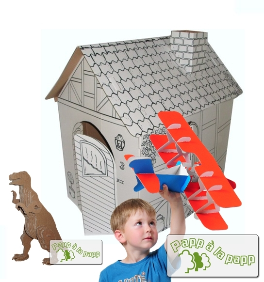 papp la papp spielzeug aus pappe mit spiel haus. Black Bedroom Furniture Sets. Home Design Ideas