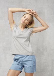 T-Shirt V-Ausschnitt grau - recolution