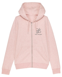 Damen Zip-Hoodie aus Bio-Baumwolle 'Save the Bees' - University of Soul