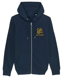 "Herren Zip-Hoodie aus Bio-Baumwolle ""Save the Bees"" - University of Soul"