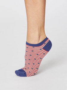 Spot and Stripe Bamboo Trainer Socks - Thought