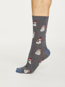 Snowmen Sustainable Bamboo Socks - Navy                       - Thought