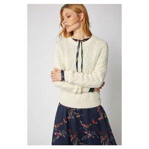 weißer Pullover mit Zopfmuster - LANIUS