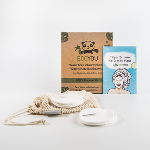 Abschminkpads waschbar aus Baumwolle inkl. Wäschenetz - 10 Stück Weiß - EcoYou