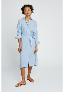 Kleid - Ginny Stripe Shirt Dress - Blue - People Tree