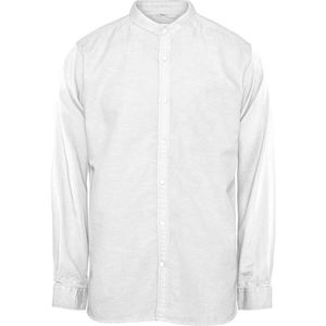 Hemd - cotton linen long sleeved shirt - stand collar - KnowledgeCotton Apparel