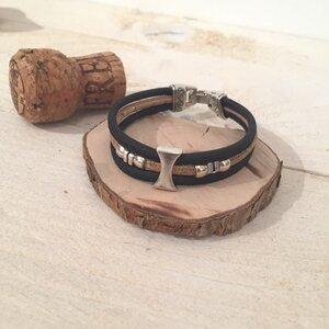 Korkarmband Sanduhr schwarz natur  - Living in Kork