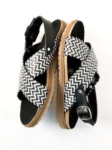Huarache-Sandalen mit Fußbett Schwarz-Weiß Damen - Will's Vegan Shop