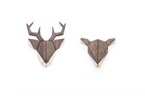 Broschen aus Holz - Hirsch + Reh Set | Mode Schmuck - BeWooden