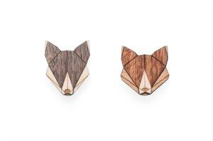 Broschen aus Holz - Wolf + Fuchs Set | Einzigartiges Mode Schmuck - BeWooden