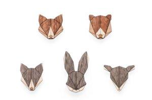 Broschen aus Holz Set - Tiere | Mode Schmuck - BeWooden