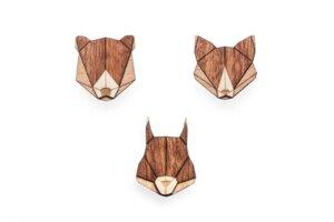 """Broschen aus Holz Set - """"Eichhörnchen, Fuchs + Bär""""   Mode Schmuck - BeWooden"""