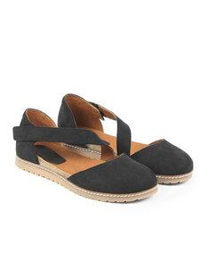 Sandalen Mit Diagonalem Riemen Und Fußbett Veganes Wildleder Damen - Will's Vegan Shop