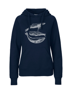 "Fair gehandelter Bio Frauen Hoodie ""three whales"" vegan, organic,fair - ilovemixtapes"