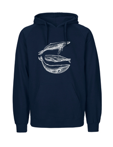 Fair gehandelter Männer Bio Hoodie 'three whales' navy  - ilovemixtapes