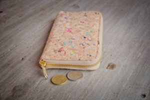 Portemonnaie - Vegan Cork, Brieftasche aus Recycling Kork mit Zipper - BY COPALA