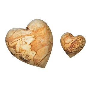 Zwei NATUREHOME Deko-Herzchen Handschmeichler aus Olivenholz Set aus 5 und 10 cm - NATUREHOME