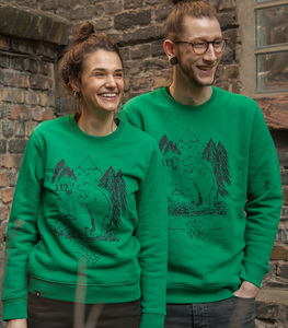 Bär Bärnd Blitzbert - Fair Wear Unisex Sweater - Green - päfjes
