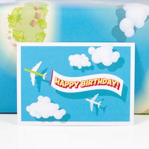 Postkarte Happy Birthday - Bow & Hummingbird