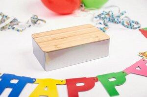 Metall Dose für Geburtstags Geschenke mit Deckel aus Bambus Holz - DS