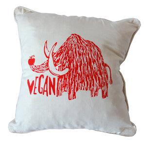 Bio Kissenbezug, 45x45 cm, Vegan Mammut, Siebdruck handbedruckt - Cherry Bomb