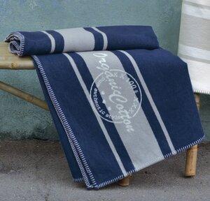 "Baumwolldecke Jade marine blau Stempel ""Organic Cotton"" - David Fussenegger"
