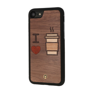 I LOVE COFFEE Holz Hülle Case für iPhone 8/7, iPhone XS/X, iPad mini 4 - WOODTASTIC